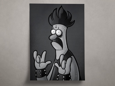 Black Metal Beaker procreate illustration doodle print muppets beaker metal black kvlt