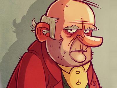 Grumpy Geezer print illustration doodle man old geriatric geezer grumpy