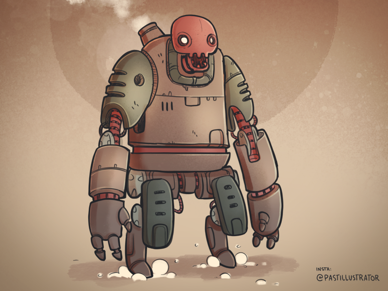 Steambot robot procreate cartoon sketchbook doodle illustration