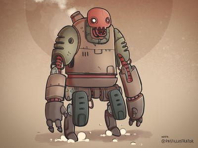 Steambot robot procreate cartoon sketchbook doodle illustration