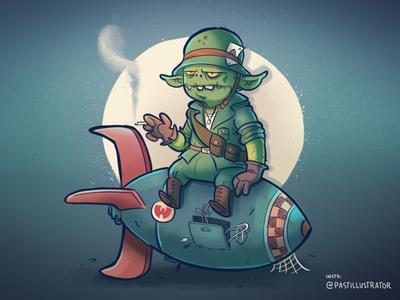 A little army dude wu goblin bomb procreate cartoon sketchbook doodle illustration