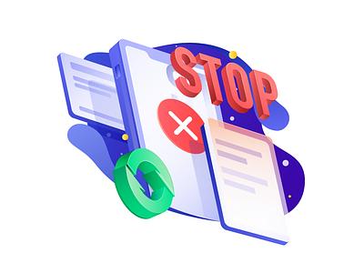 Detection failure design vector ui icons