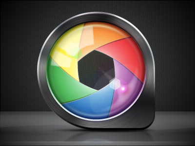 ColorSnapper Icon (256px) colour steel aperture iris picker color colorsnapper loupe mac application icon magnifiing glass