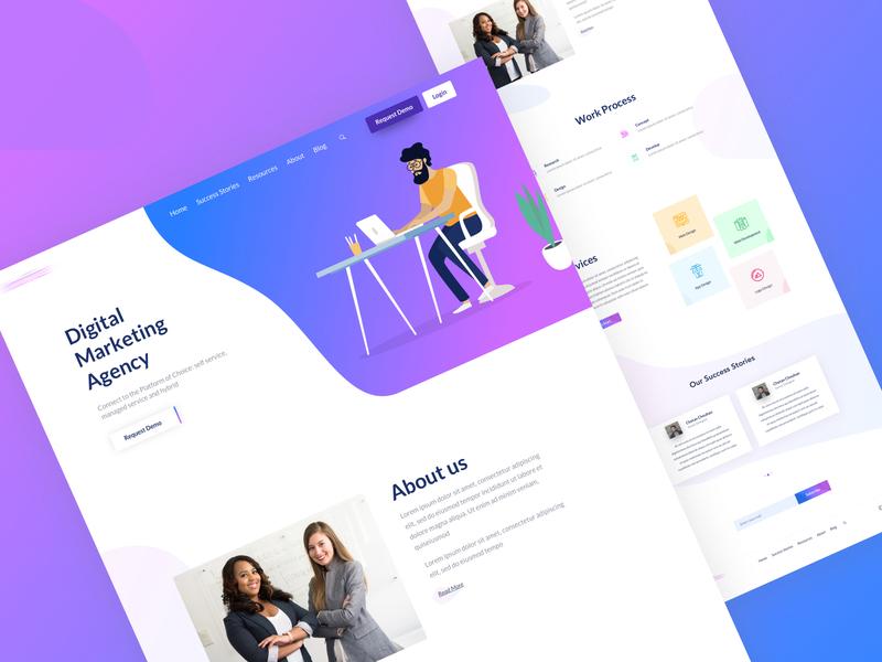 Digital Marketing agency digitalmarketing digital marketing marketing agency clean illustration modern web creative layout design sketch uiux