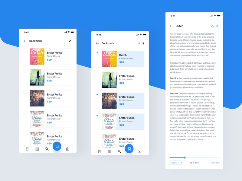 Booklib App progress bar page save edit bookmark knowledge reading learning book illustration dashboard app modern creative layout ui design sketch uiux