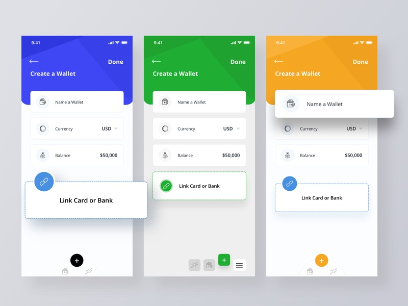 Create a Wallet screens app wallet vector modern web creative layout ui design sketch uiux