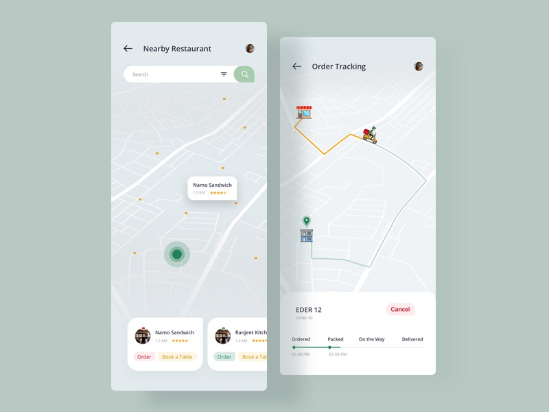 Nearby location tracker track location map status order book a table home delivery dinner lunch restaurant food ios app modern creative design sketch uiux