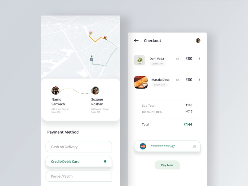 Checkout Screen card payment location order pay checkout tracking delivery cash on delivery restaurants lunch dinner food app modern layout sketch uiux