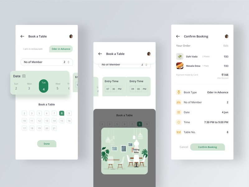 Book A table app design reservation confirm date time advance booking table book food lunch dinner restaurant creative modern ui sketch uiux