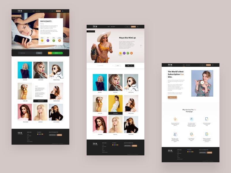 The Fan Homepage photoshoot clean branding modelling marketing glamour fashion blogger performer fan influencer model web modern layout design sketch uiux