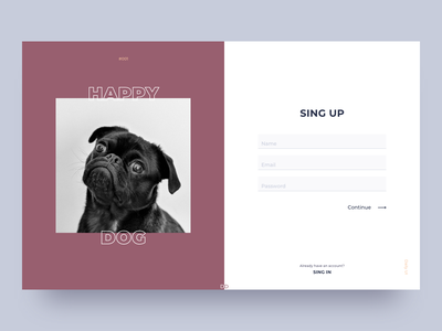 Happy Dog web design 001 daily ui pet dog form registration sing up ui ui  ux design user interface digital design debut