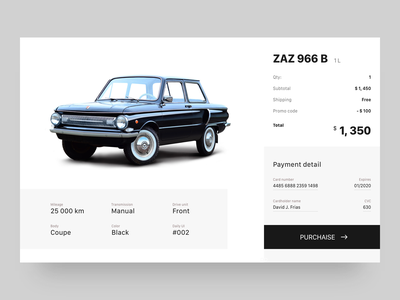 ZAZ purchase minimal clean website webdesign ui  ux design user interface web design digital design 002 daily ui credit card checkout form car