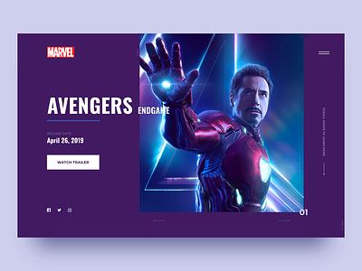 Avengers: Endgame landing page minimal marvel avengers webdesign concept movie clean ui  ux design 003 daily ui web design user interface digital design