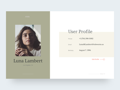 User Profile user profile minimal clean webdesign concept 006 daily ui web design user interface ui  ux design digital design