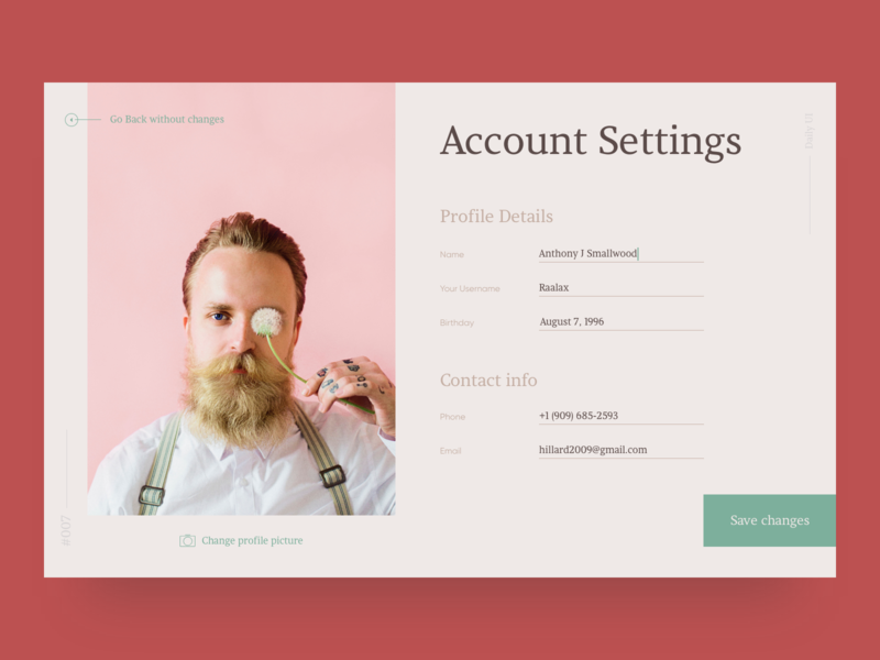 Account settings settings account clean minimal webdesign concept 007 daily ui web design user interface ui  ux design digital design
