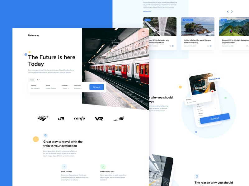 Metroway Landingpage explore travel bussines flight train landing page ui clean card design