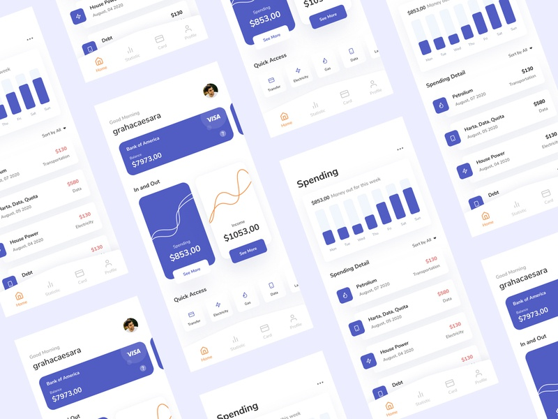 Finance App Management minimalist ui minimalism card design activity clean ui chart crm ui design money bank financial app finance