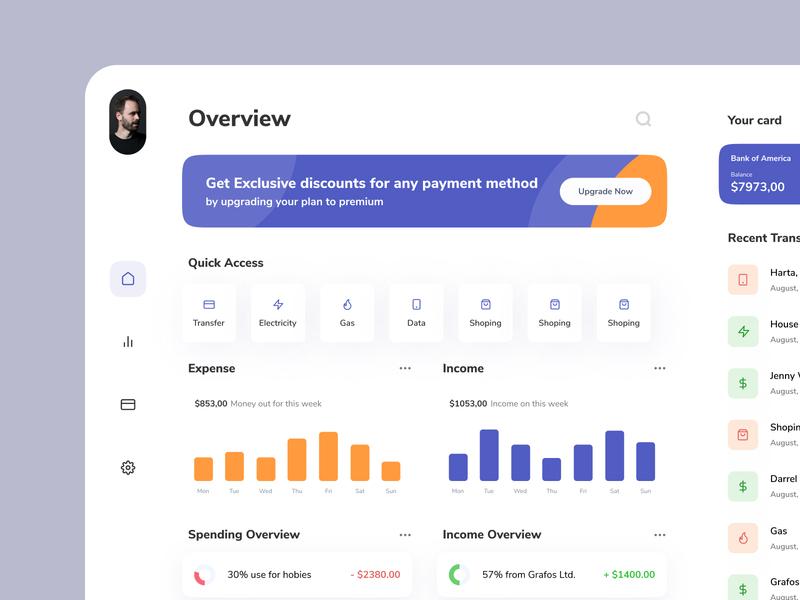Finance Dashboard app dashboad transaction design ui card clean activity banking bank deposit money transfer crm finance