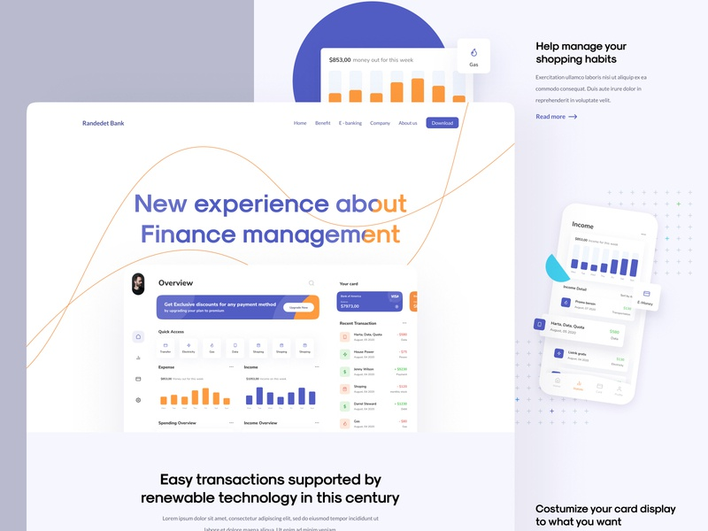 Finance Landing Page website minimalist finance crm money deposit bank banking activity clean card ui design transaction landing page