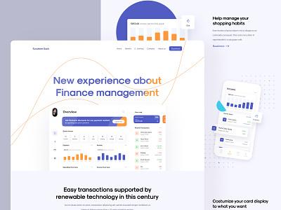 Finance Landing Page website minimalist finance crm money deposit bank banking activity clean card ui design transaction landing page