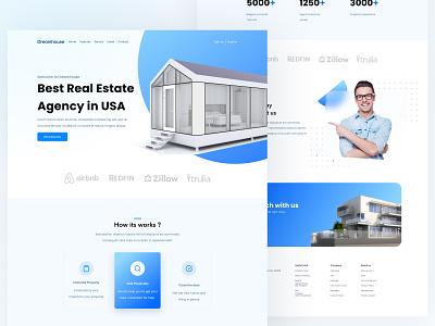 Dreamhouse Landing page 3d branding minimalism landing page minimalist ui card design clean agency real estate house