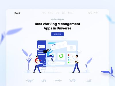 Burik Management Apps character crm uiux website hero management work 2dcharacter illustration design