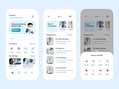 Medical Consultation app medical hospital consultation mobile health uiux doctor covid drug antigent medical care card clean design activity ui