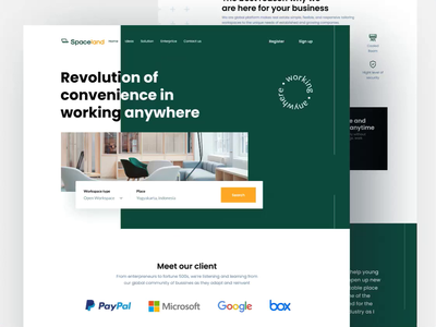 Spaceland Landing page working space uiux minimalist web website web design landing page homepage design coworking coworking landing page furniture interior office agency building company start up work workspace