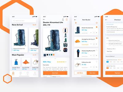 Outdoors Rent App equipment outdoors hobbies rent rentals uidesign design hiking rental app mobileapp