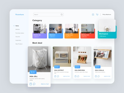Pureniture E-Commerce Dashboard price category furniture shop furniture design minimalism ecommerce app ecommerce shop item product cart card cards design furniture store furniture app furniture color ui dashboad