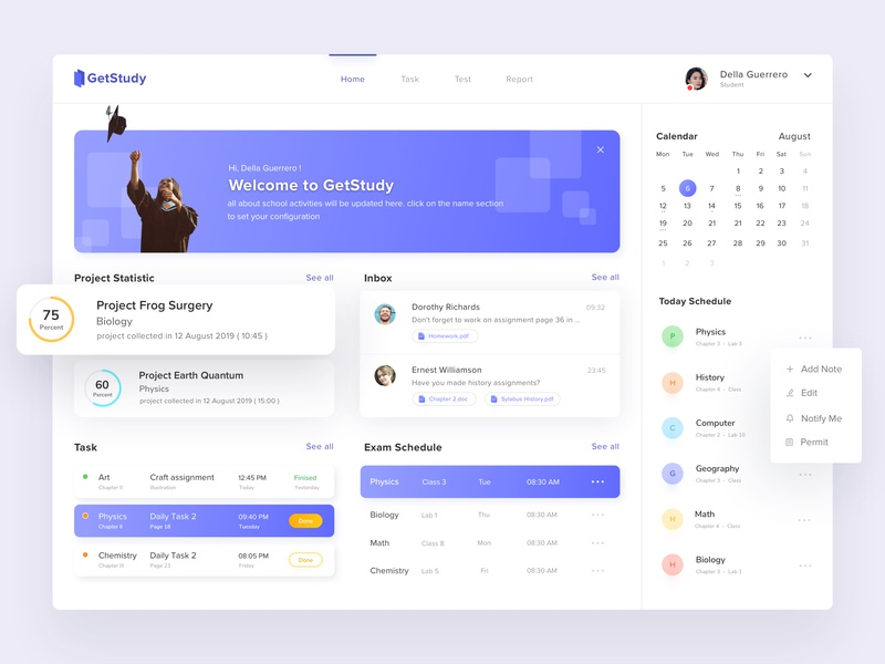 Get Study Dashboard App test homework exam project design card schedule school student app date clean activity user interface colors learning task dashboad
