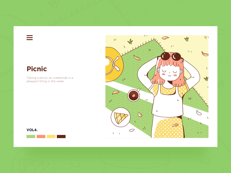 Day4-Picnic card green picnic doodle girl illustration