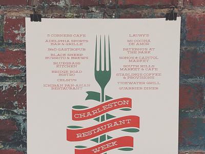 Charleston Restaurant Week Poster deming poster screen print food foodie fork charleston wv west virginia restaurant