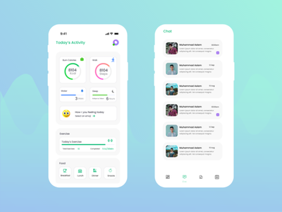 Diet and Exercise App mobile screen design mobile app ui ux ui