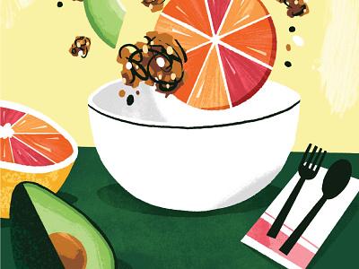 Avocado Granola Bowl lifestyle food drawing illustration