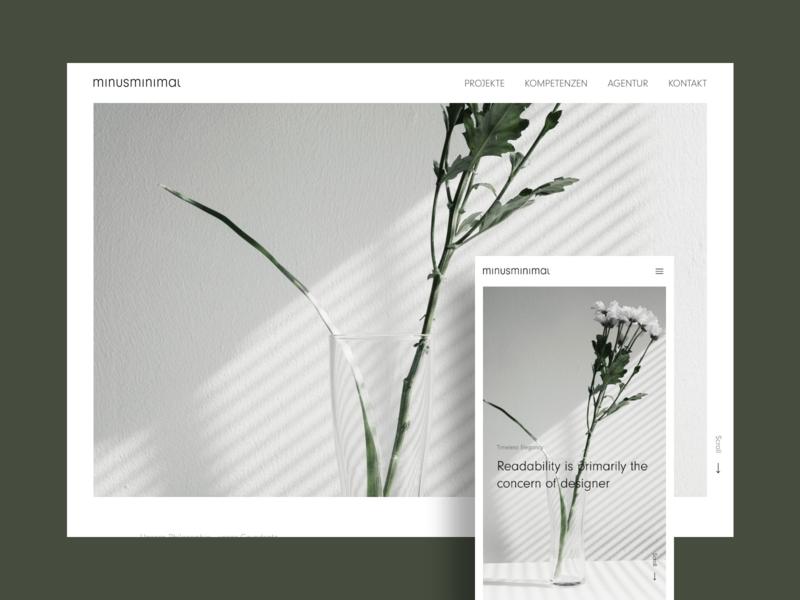 minusminimal — creative studio // about page mobile card user interface website branding app artwork minimalism studio agency design ux ui minimal concept clean adobexd responsive webdesign web