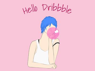 Hello Dribbble ^•^/ hello dribbble digital drawing