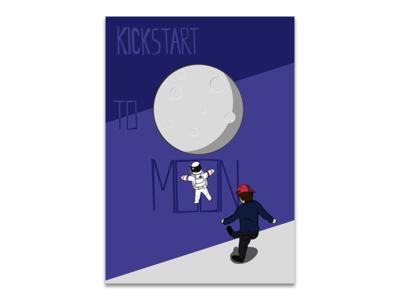 Kickstart to Moon illustrator illustration poster