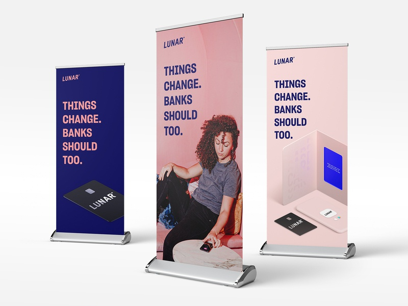 Lunar roll-ups rollup banner rollup poster card banking app finance outdoor print