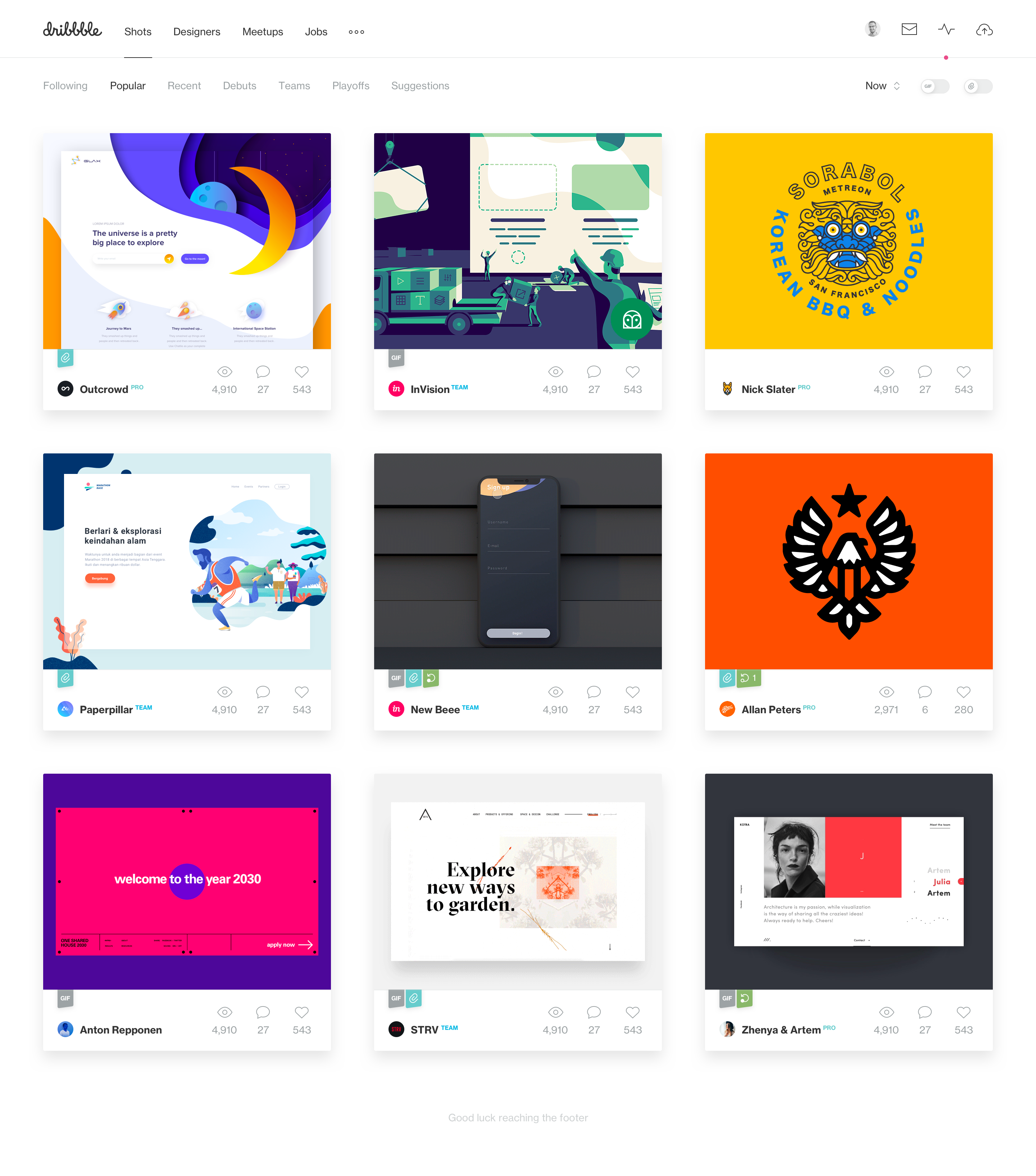Dribbble frontpage