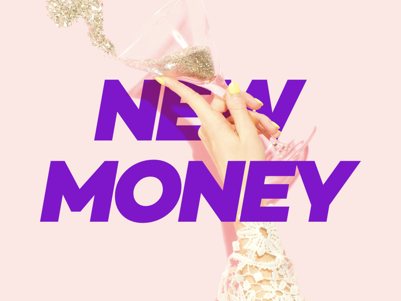 New Year - New Money minimalistic simple glitter champagne purple typography instagram newyear 2019 2018