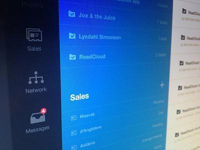 Leftside left side leftside navigation menu design interface meedor crm project management activity sidemenu sidebar active blue