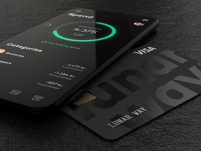 Card and spendings minimalistic credit card app design ui darkui cgi cinema4d 3d mockup app creditcard lunarway