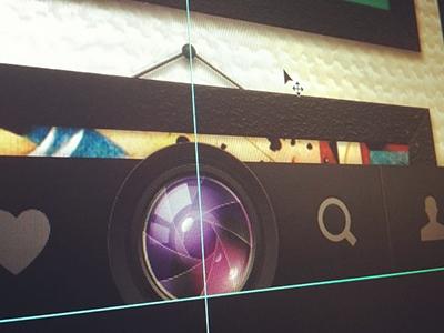 Buttom navigation (WIP) wip buttom navigation design interface app ios camera lens shutter icon menu bar shade icons