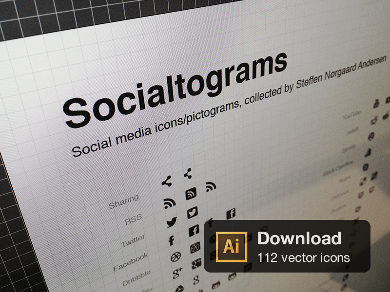 Socialtograms icons social vector pictograms download free