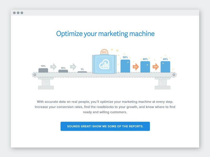 Kissmetrics Optimize Your Marketing Machine svg vector screenshot funnel marketing illustration ui kissmetrics