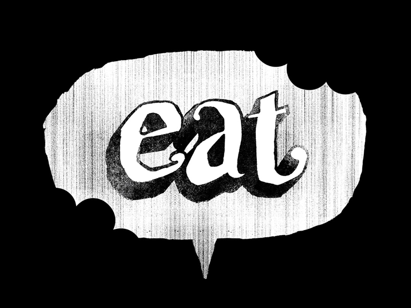 eat - hand-lettering typography letters bite eat bw white black word balloon hand-lettering distress