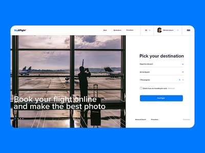 Sky&Flight flight booking plane booking booking form typography landing  page landing page concept web ui ux design