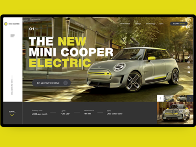 Mini mini cooper mini electric car auto car typography logo branding landing page concept vector web ui ux design