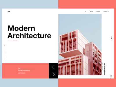 Modern Architecture concept 2019 trend pantone modern architechture landing  page web ui ux typography design